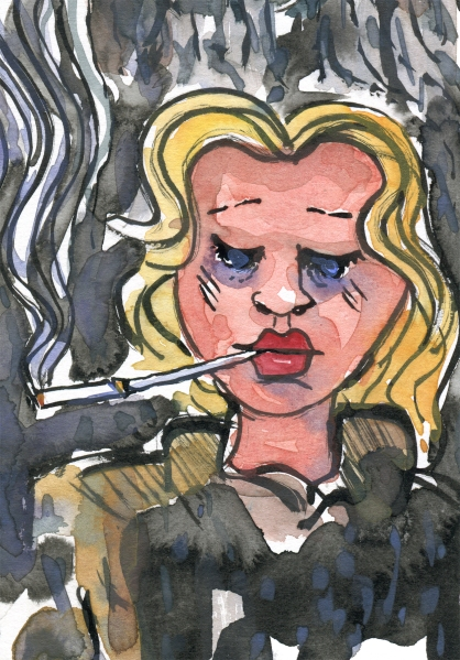 illustration of a woman looking tired and hardened, smoking a cigarette