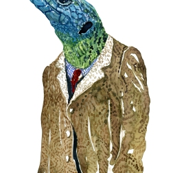 Lacertids Lizard in clothing watercolor painting by Frits Ahlefeldt