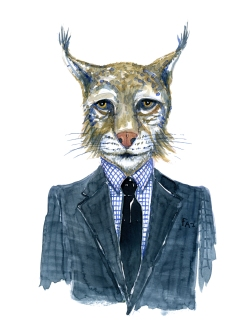 Lynx in clothing watercolor painting by Frits Ahlefeldt