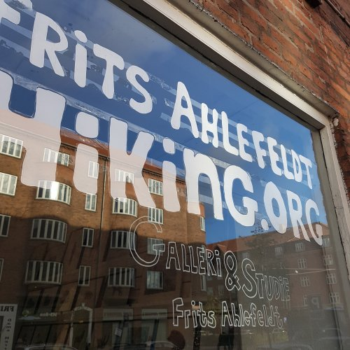Hiking.org sign on my window in Copenhagen