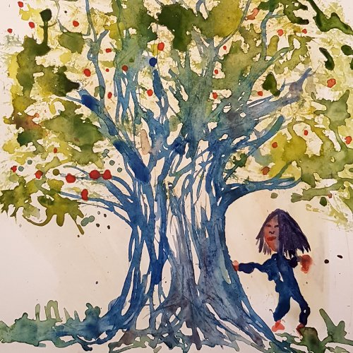 Asian girl standing beside a huge tree, watercolor by Frits Ahlefeldt.