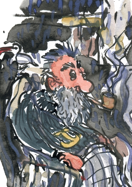 Pipe smoking old sailor - drawing by Frits Ahlefeldt