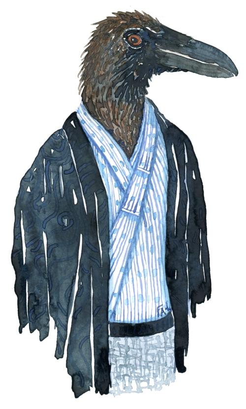 Raven bird dressed in an Asian, Japanese looking kimono