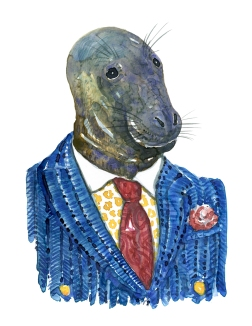 Seal in clothing watercolor painting by Frits Ahlefeldt