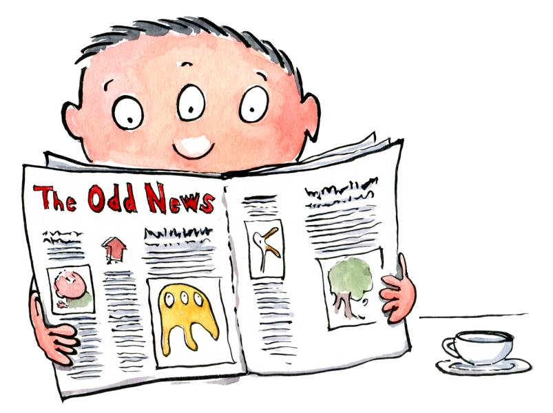 Drawing of a man with three eyes reading the odd news