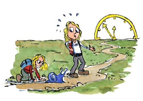 Drawing of a kid looking at a blue snail on the trail, with a clock at the end of the trail and a woman looking hurried