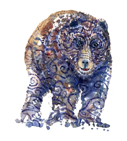 watercolor-animal-bear-front-tribal-series-artwork-by-frits-ahlefeldt