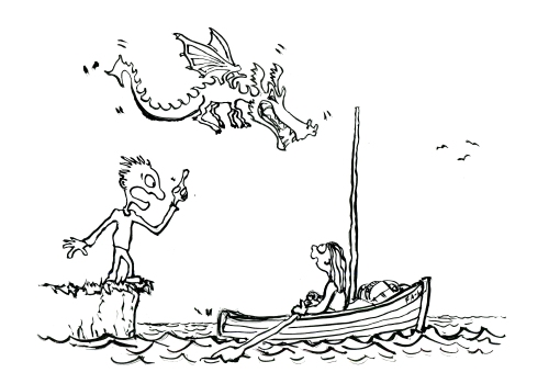 Man on the shore pointing at dragon while a kid is heading out on adventure in a small boat