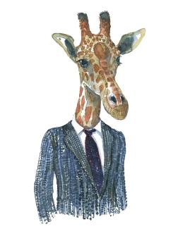 Giraffe in suit watercolor by Frits Ahlefeldt