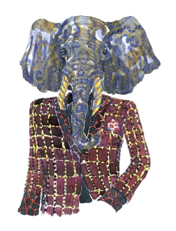 Elephant in suit watercolor painting by Frits Ahlefeldt