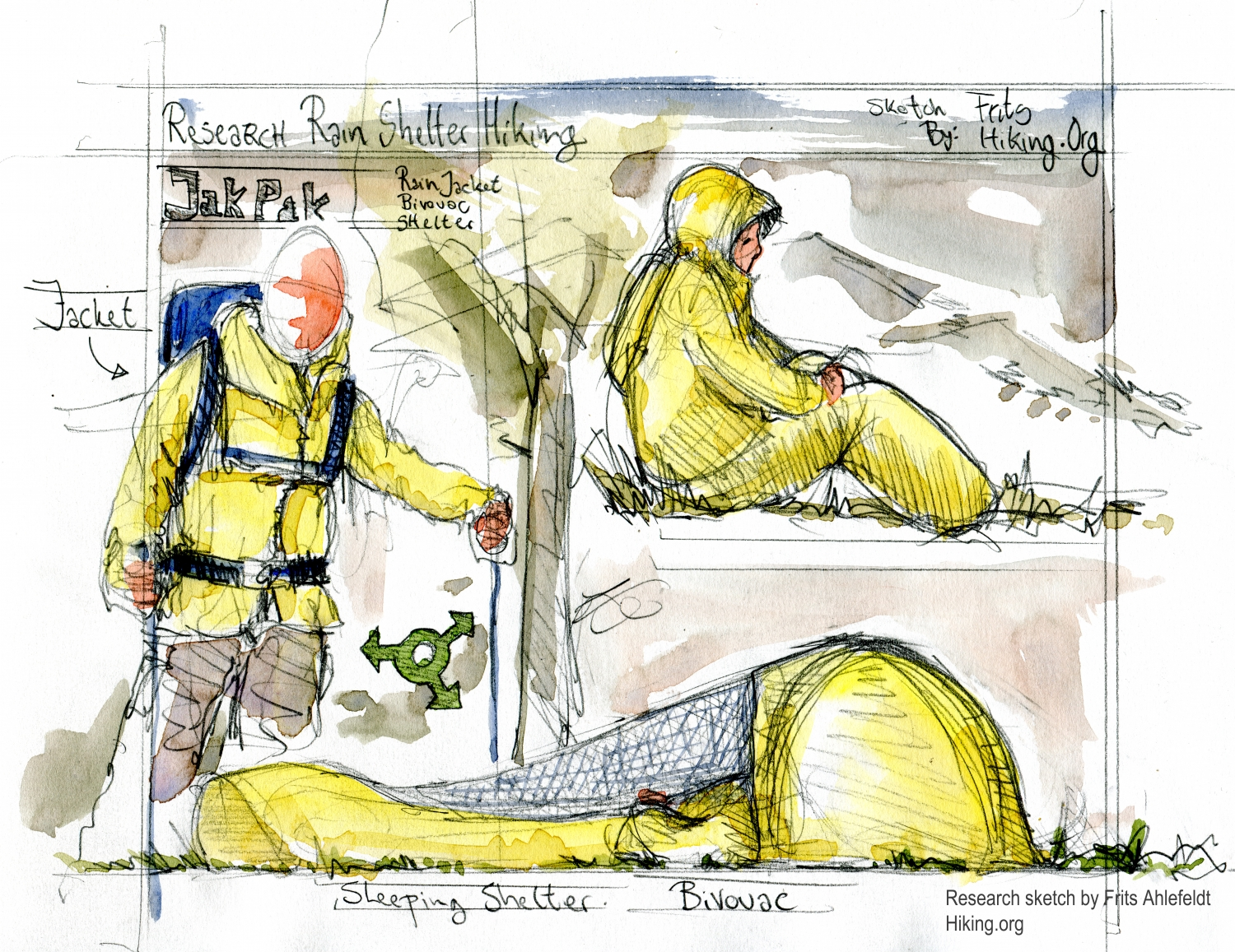Survival jacket, yellow pencil Research sketch by Frits Ahlefeldt