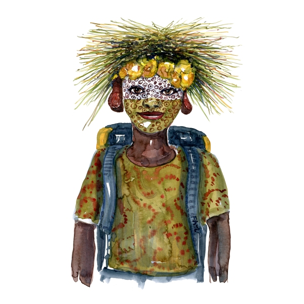 Woman with face paint and grass hat. Naturehikers series watercolor by Frits Ahlefeldt