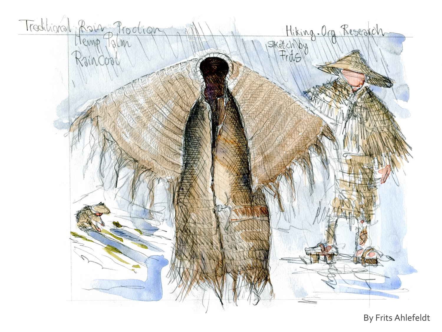 Traditional Japanese Rain jacket - Research sketch by Frits Ahlefeldt