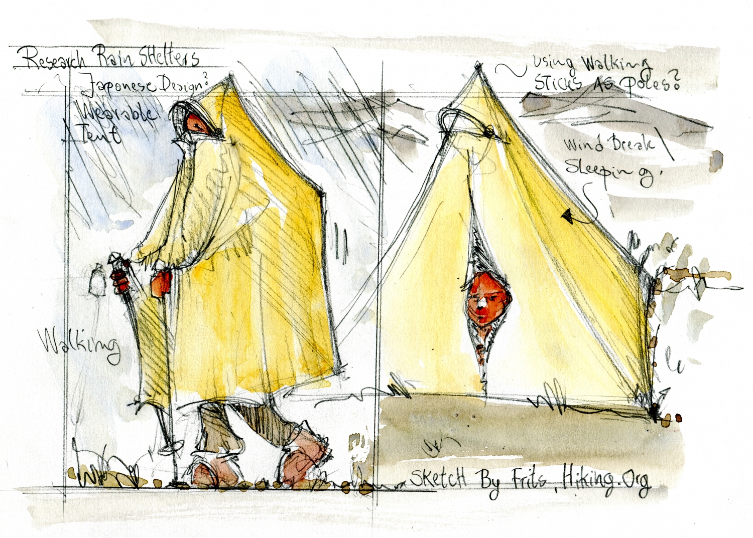 Yellow tent, that can be a poncho too Research sketch by Frits Ahlefeldt