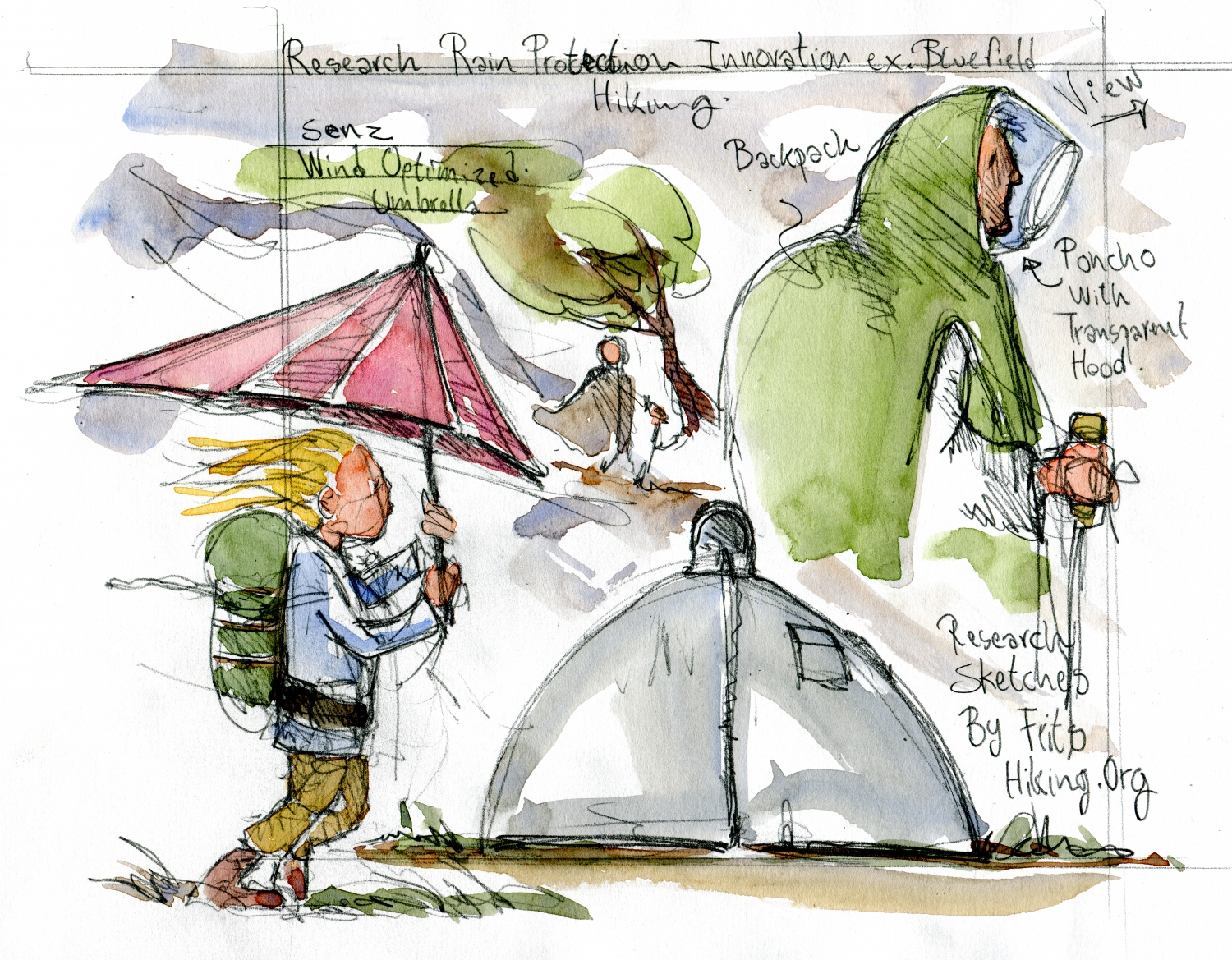 Pencil and watercolor sketches of Frits Ahlefeldt of designs to keep the rain out