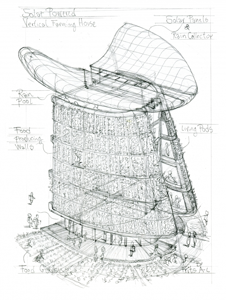 Pencil sketch of green radical future house building