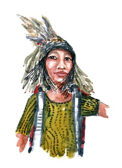 Watercolor portrait of girl with backpack and a traditional head wear with feathers
