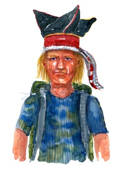 Long hair blond man wearing backpack and traditional looking hat