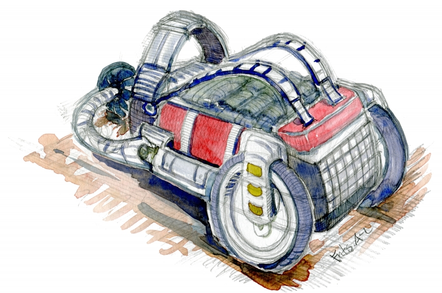 Pencil sketch with watercolor of a backpack with wheels. concept by Frits Ahlefeldt