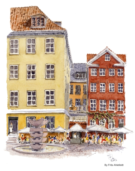 Graabrodre torv, Copenhagen Watercolor painting by Frits Ahlefeldt