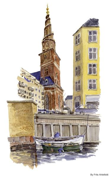 Frelser Church Copenhagen Watercolor painting by Frits Ahlefeldt