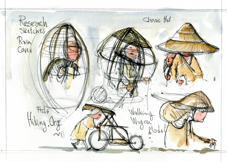 Sketches of rain protection. Research sketch by Frits Ahlefeldt