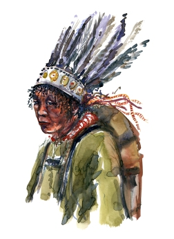 Nature man with feather head wear, painting by Frits Ahlefeldt