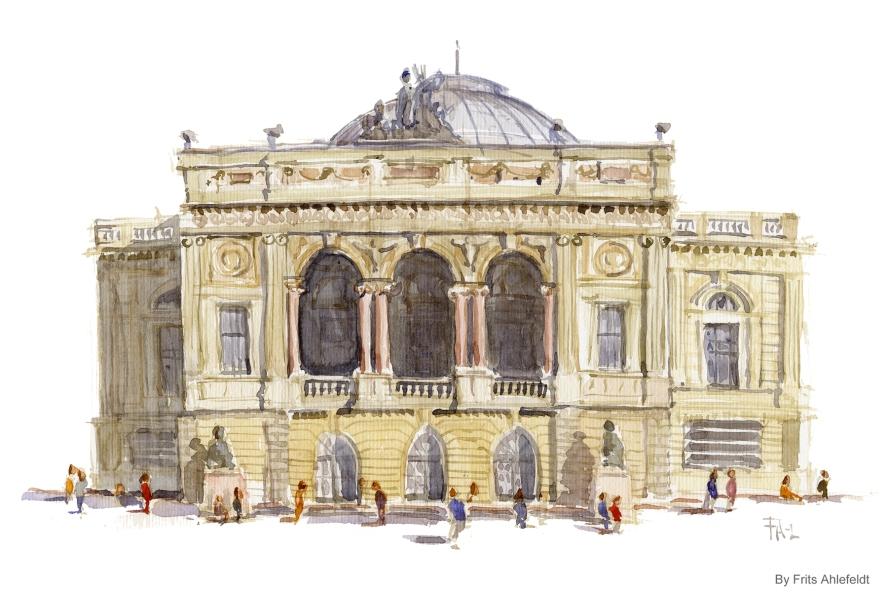 Kongelige Teater, Copenhagen Watercolor painting by Frits Ahlefeldt