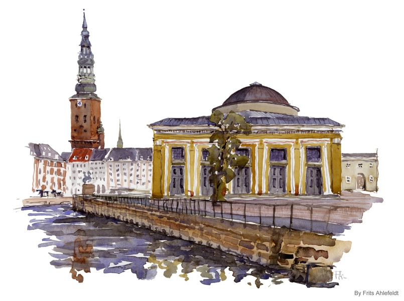 Museum in central Cph. Copenhagen Watercolor painting by Frits Ahlefeldt