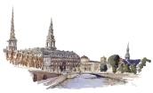 Christiansborg, Copenhagen Watercolor painting by Frits Ahlefeldt