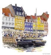 Copenhagen Watercolor painting by Frits Ahlefeldt
