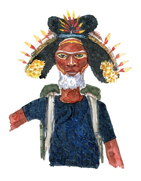 Wateroolour painting of an elderly man with a flower hat and backpack. Art by Frits Ahlefeldt