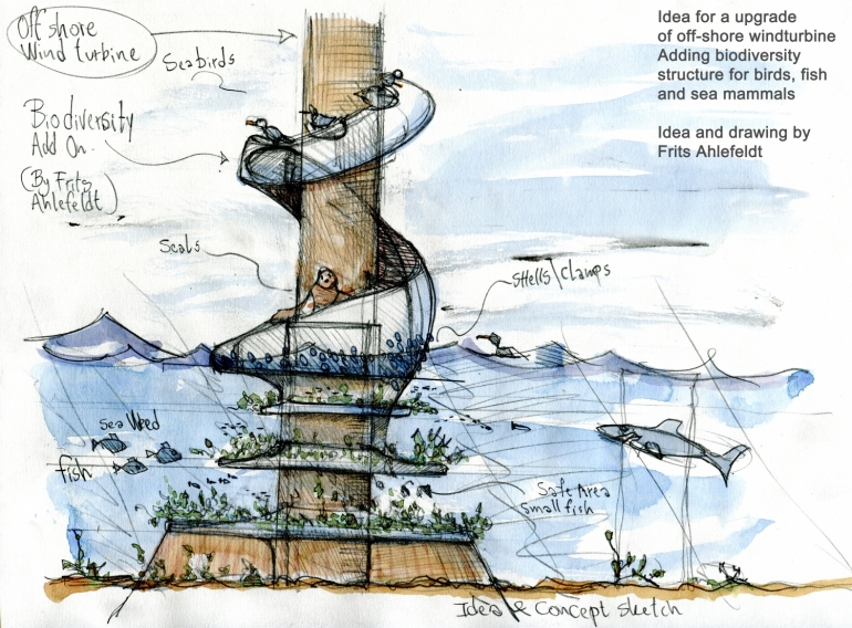 Off shore wind turbine - biodiversity idea. Idea and design by Frits Ahlefeldt
