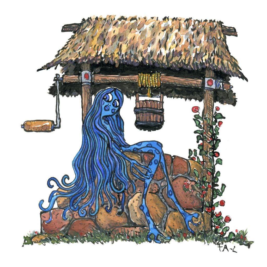 Magical blue creature sitting on a well, illustration by Frits Ahlefeldt