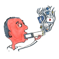 Man smoking social media like gadget with facebook and other social media icons in smoke. Drawing by Frits Ahlefeldt