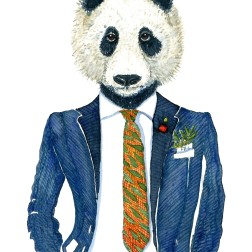 Watercolor portrait of a giant panda in a blue suit. Art by Frits Ahlefeldt