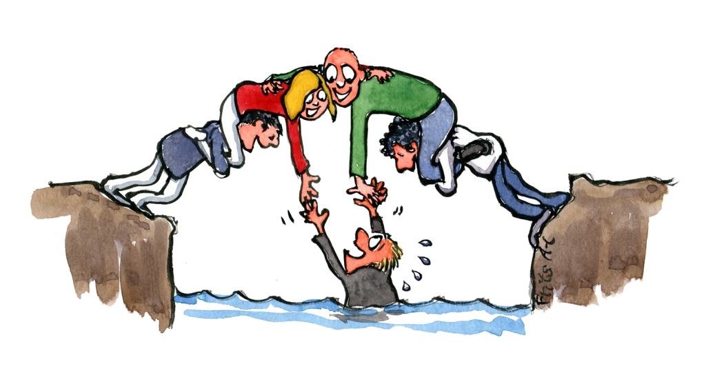 A bridge of people, helping a person out of the water. the peer to peer bridge. Drawing by Frits Ahlefeldt