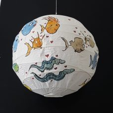 Hand painted artwork on rice paper lamp. Fish in love. By Frits Ahlefeldt