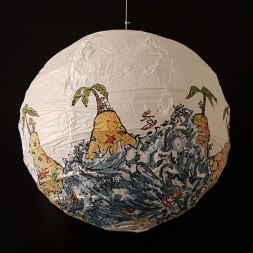 No man is an island at low tide art by Frits Ahlefeldt. SpherePainting on Rice paper lamp