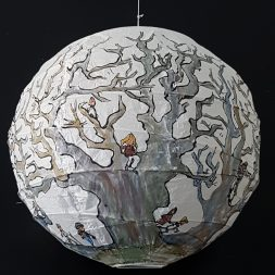 Trees and hikers Illustration in ink and watercolor on sphere lamp