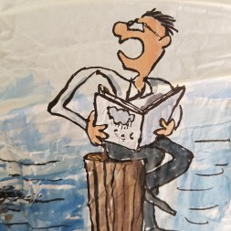 Man with theory Drawing up people on wooden sticks talking about different things while the water gets higher. Sphere painting by Frits Ahlefeldt on Rice paper lamp