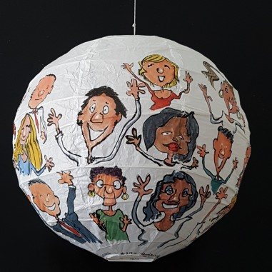 Detail - Happy people all around painting by Frits Ahlefeldt. On Rice paper Lamp