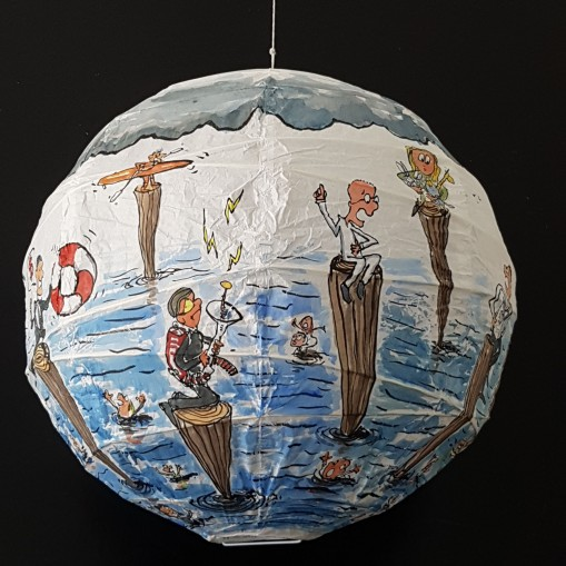 Drawing up people on wooden sticks talking about different things while the water gets higher. Sphere painting by Frits Ahlefeldt on Rice paper lamp