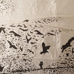 Artwork drawing of birds flying around ricepaperlamp - art by Frits Ahlefeldt