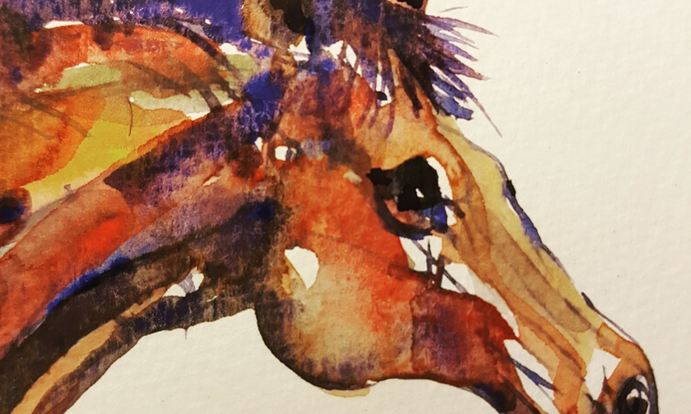 Detail of watercolor - horse by Frits Ahlefeldt