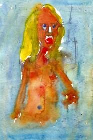 woman in water - Watercolor people portrait by Frits Ahlefeldt
