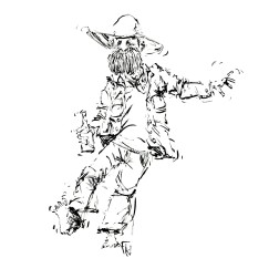 011-ink-sketch-man-looking-drunk-dancing-with-bottle-people-by-frits-ahlefeldt-hat-square-fss1