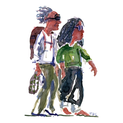 Couple with glasses walking Watercolor people portrait by Frits Ahlefeldt