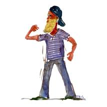 Man Watercolor people portrait by Frits Ahlefeldt