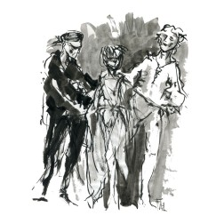 023-ink-sketch-two-men-woman-dancing-ballet-by-frits-ahlefeldt-hat-square